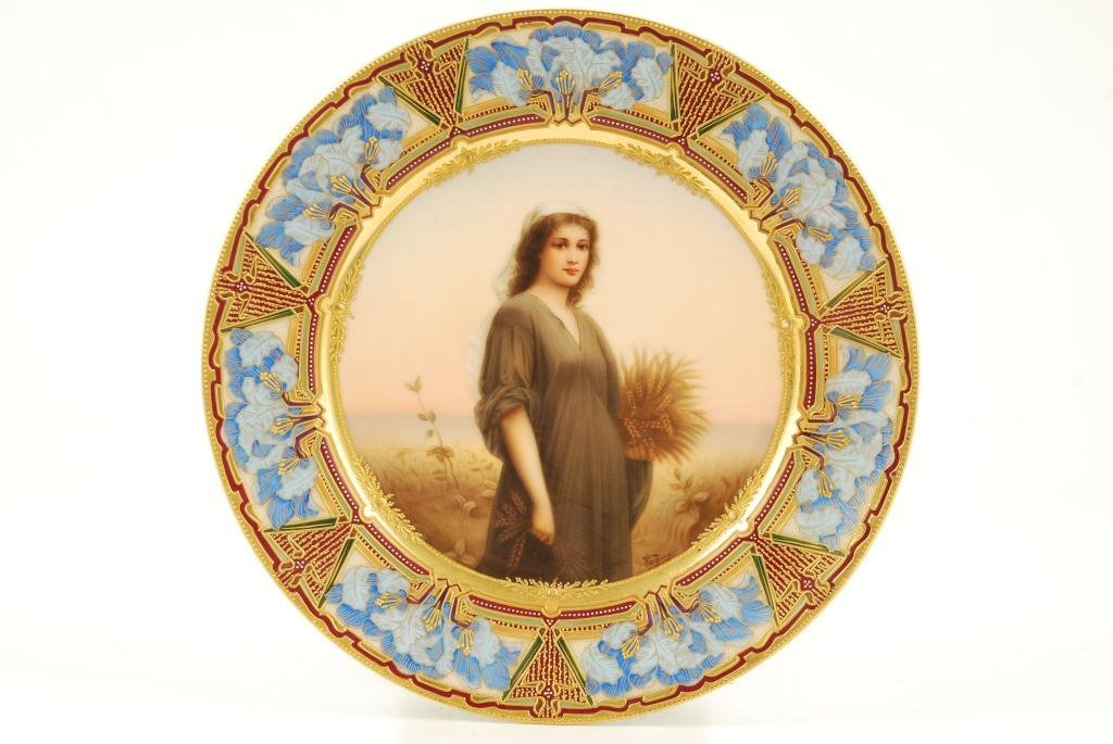 """ROYAL VIENNA """"RUTH"""" CABINET PLATE SIGNED WAGNER"""