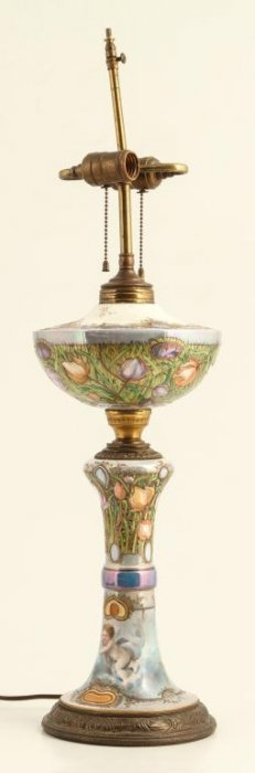 Elaborate Continental Paint Decorated Table Lamp