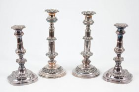 (2) Pair Of Sheffield Silver Plated Candlesticks