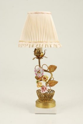 Demure Boudoir Lamp With Floral Base