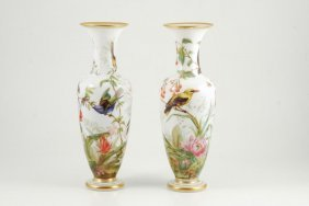 Pair Of Bristol Glass Vases With Hand Painted Birds