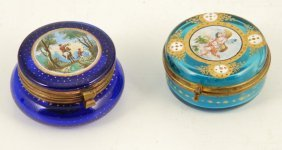 (2) Miniature Glass Boxes With Painted Scenes