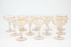 (12) Bohemien Glass Coupe Champagne Glasses