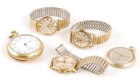 (5) MEN'S WRIST AND POCKET WATCHES