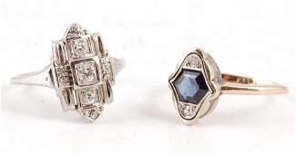 18K GOLD DIAMOND RING w/ SAPPHIRE RING