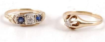 TWO 14K GOLD DIAMOND RINGS