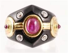 14K GOLD RUBY DIAMOND ENAMEL RING