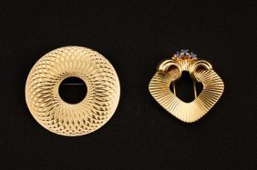 Two 14k Gold Modernist Pins