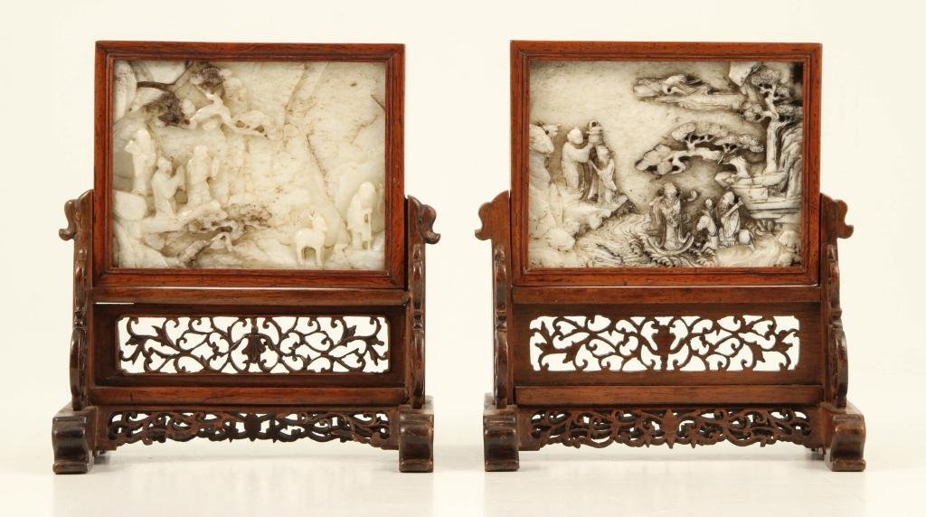 (18th/ 19th c) CHINESE CARVED JADE TABLE SCREENS
