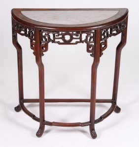 Chinese Demilune Marble Top Console Table