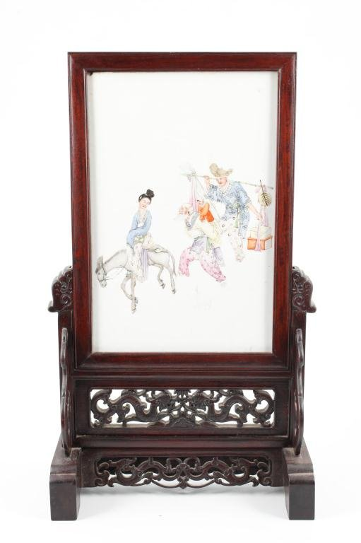 (19th c) CHINESE PORCELAIN TABLE SCREEN