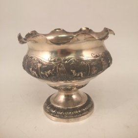Sterling Silver Vase Hand Chased W/ Jungle Animals