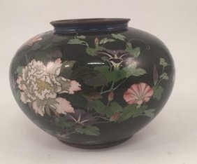 Cloisonne Vase With Black Ground And Floral Motif