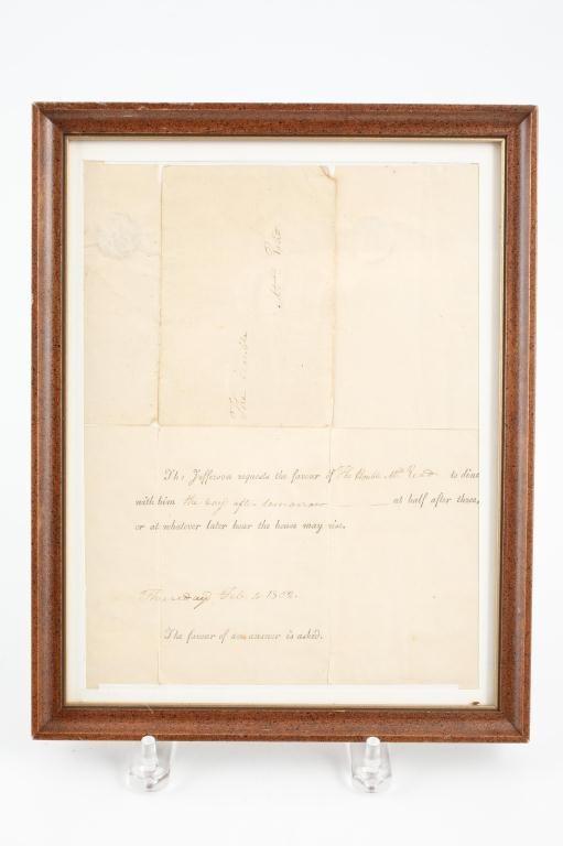 1802 THOMAS JEFFERSON DINNER INVITATION