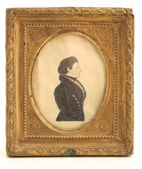 (19th C) Portrait Miniature Of Earlier 19thc Gent