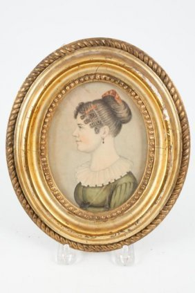 (18th C) Portrait Miniature Of A Young Woman