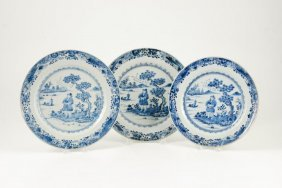 (3) Chinese Blue And White Plates
