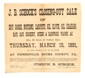 1891 Schock's Closing-out Sale Broadside