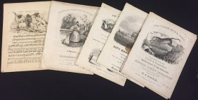 (6) Pieces Of American Sheet Music Circa 1830's