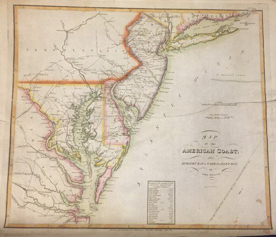 1813 MAP OF THE AMERICAN COAST BY JOHN MELISH