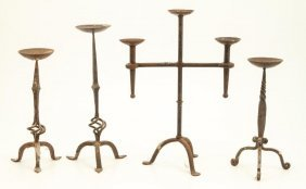 (4) Wrought Iron Pricket Candlesticks