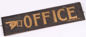 "(19th C) ""office"" Gilt & Sand Painted Trade Sign"