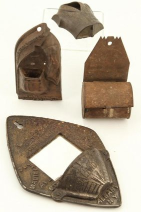 (4) Tin And Cast Iron Advertising Match Safes