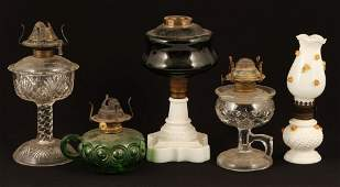 5 PRESSED GLASS FLUID LAMPS