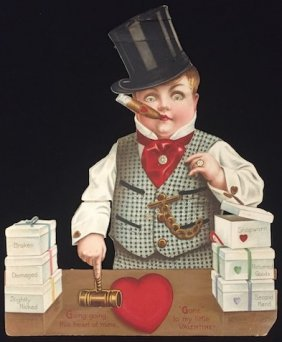 Victorian Die Cut Fold Out Valentine Of Auctioneer