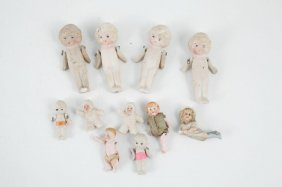 Lot Of Bisque Toy Figures With Snow Babies Etc.
