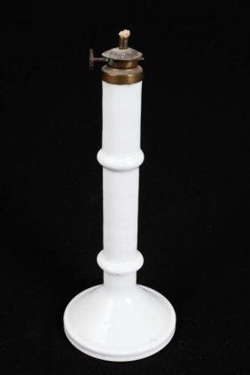 Milk Glass Candlestick-form Fluid Lamp
