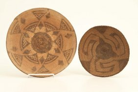 (2) Native American Indian Low Coil Baskets