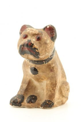 (early 20th C) Folk Art Chalkware Dog