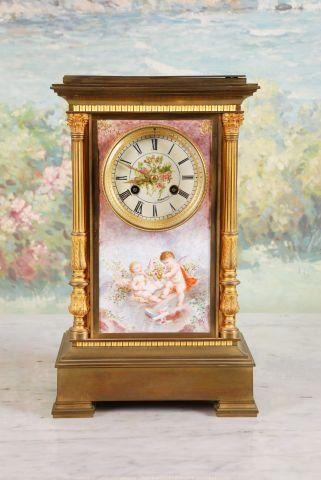 19th c French Gilt Bronze Mantel Clock