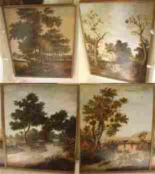 Four 18th c Continental School Landscapes Panels