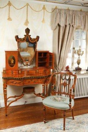 Adams Style Painted Satinwood Dressing Table