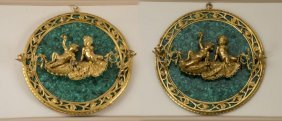 Pair Of French Gilt Bronze And Malachite Sconces