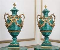Pair of Classical Russian Malachite Veneer Urns