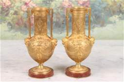 Pair of 19th c Neoclassical Gilt Bronze Vases
