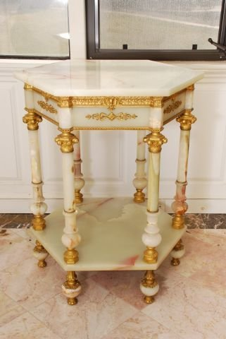 19th c French Hexagonal Onyx Occasional Table