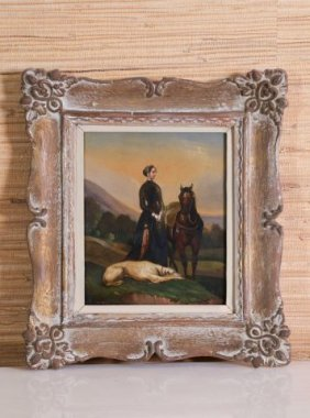 19th C English School Lady With Horse Oil