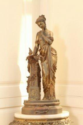 C1910 French Art Nouveau Bronze Of Female Figure