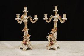 Pair Of C1900 German Porcelain Candelabra