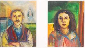 AMERICAN SCHOOL 20th  21st c Pair of Portraits