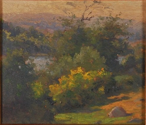 AMERICAN SCHOOL (20th c) Landscape with Blue Hill
