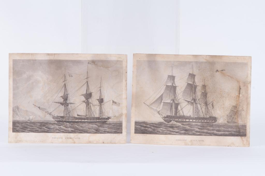 (2) 1824 FRENCH PRINTS OF ENGLISH AND US FRIGATES