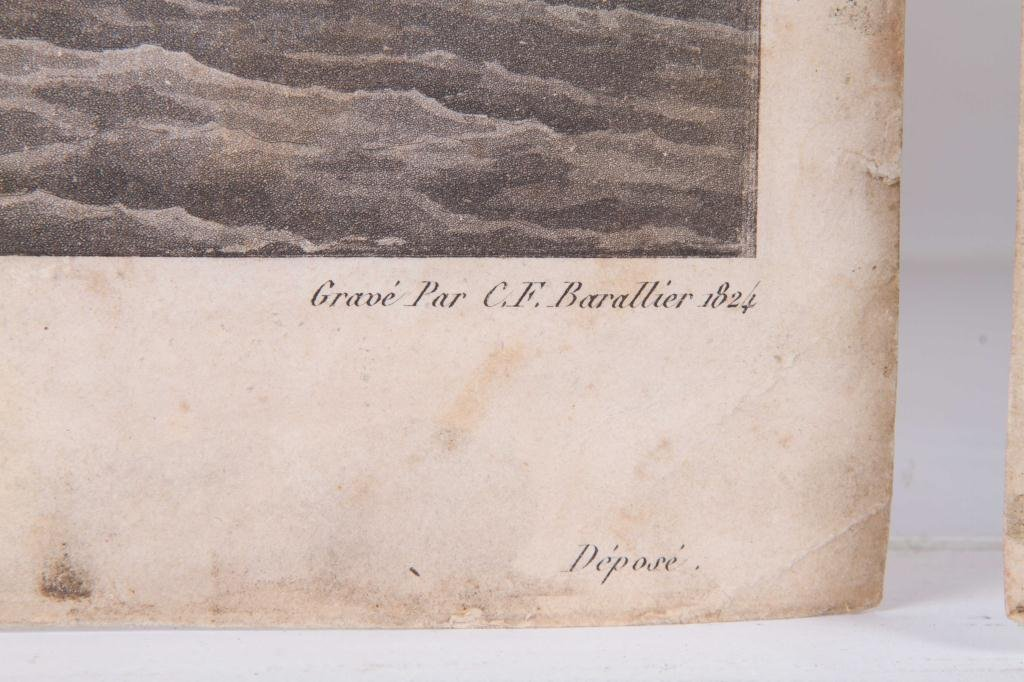 (2) 1824 FRENCH PRINTS OF ENGLISH AND US FRIGATES - 2