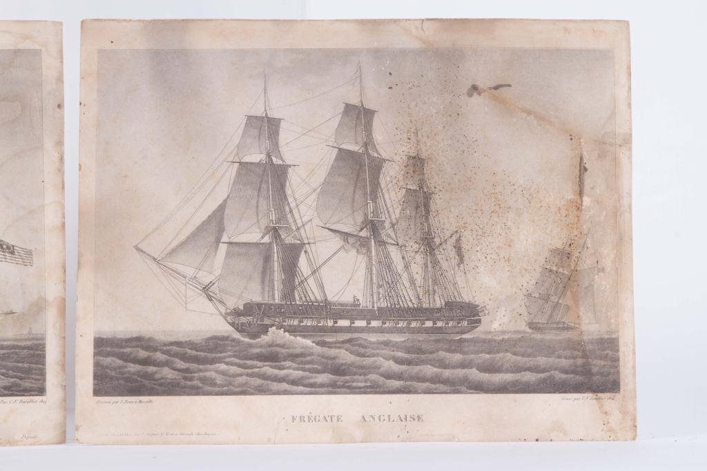 (2) 1824 FRENCH PRINTS OF ENGLISH AND US FRIGATES - 5