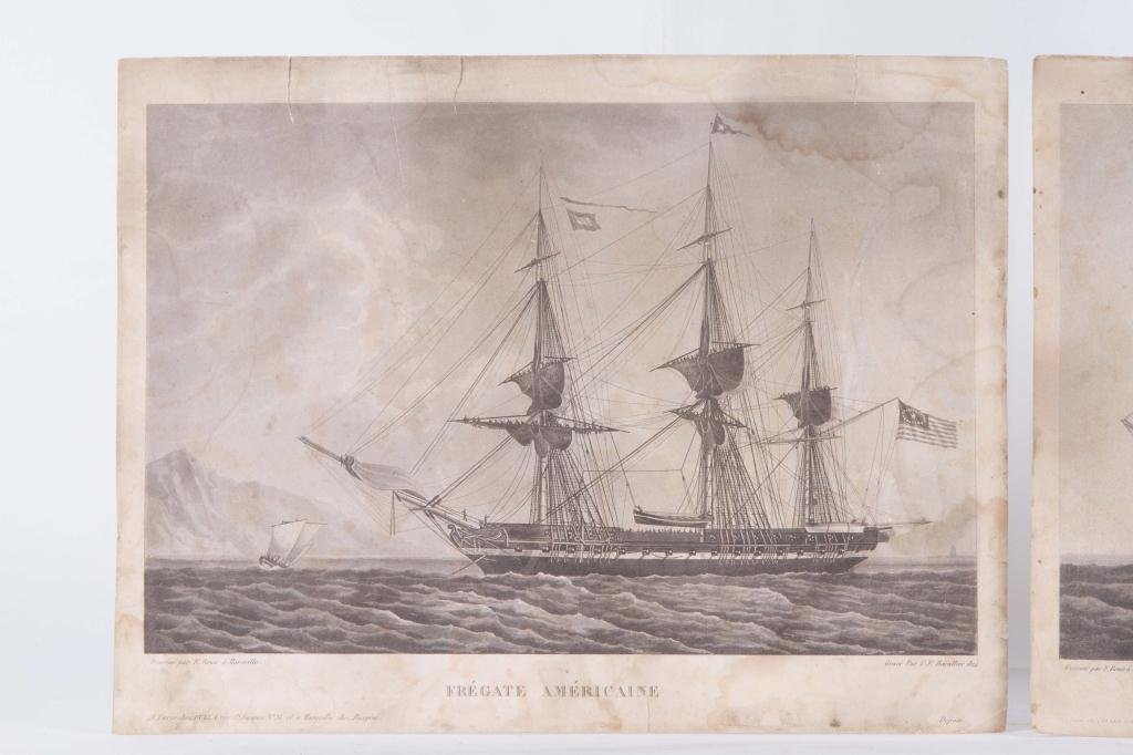 (2) 1824 FRENCH PRINTS OF ENGLISH AND US FRIGATES - 9