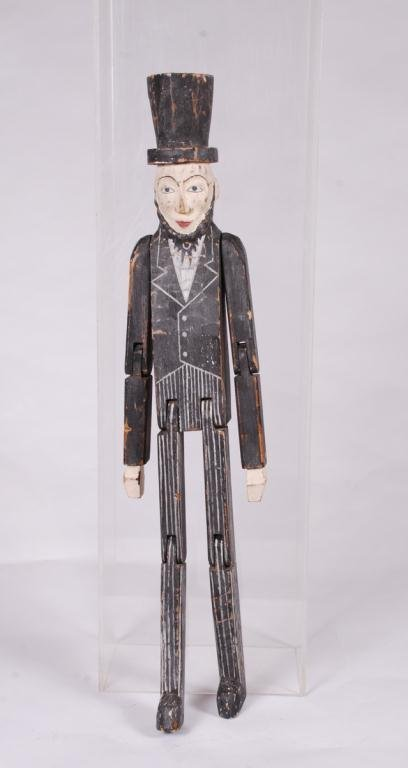 CARVED AND PAINTED ARTICULATED ABE LINCOLN FIGURE - 4